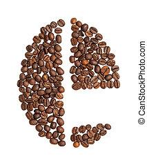 buchstabe e, gemacht, von, kaffeebohne