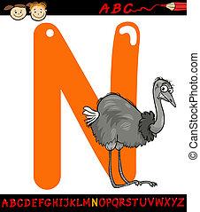 buchstabe n, für, nandu, karikatur, abbildung