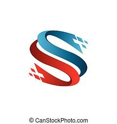 buchstabe s, technologie, logo, design, begriff, schablone