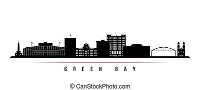 bucht, horizontal, skyline, banner., grün