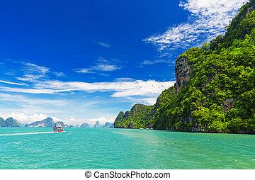 bucht, tropische landschaft, nga, thailand, pang