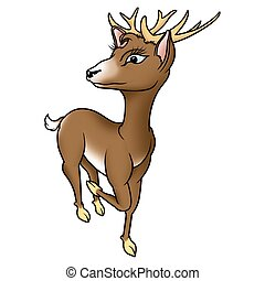 Buck - High detailed and coloured illustration - Humorous buck