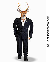Buck wearing a tuxedo - Big buck wearing a black wedding...