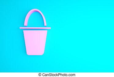 bucket., 3d, render, pesca, rosa, secchio, fish, minimalismo, illustrazione, isolato, icona, blu, concept., fondo.