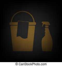Bucket and a rag with Household chemical bottles. Icon as grid of small orange light bulb in darkness. Illustration.