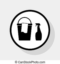 Bucket and a rag with Household chemical bottles. Vector. Flat black icon in white circle with shadow at gray background.
