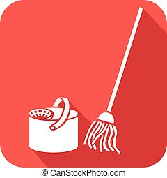 bucket and cleaning mop flat icon