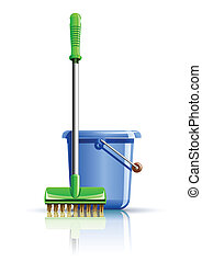 bucket and mop for cleaning vector illustration isolated on...