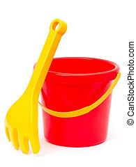 bucket and rake