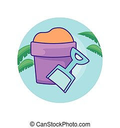 bucket and shovel in frame circular with leafs tropicals