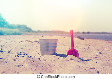 Bucket and showel at a beach