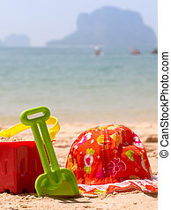 Bucket And Spade By The Ocean - Summer Vacation