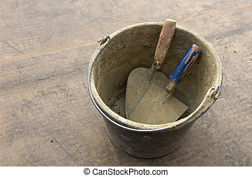 bucket and trowel