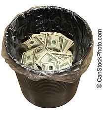 Bucket, dollars, three