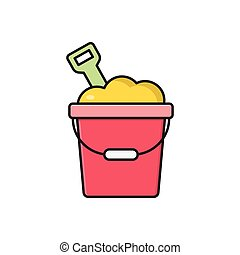 bucket  flat color icon