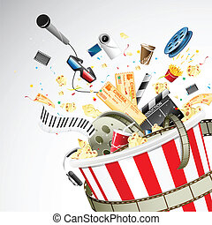 Bucket full of Entertainment - illustration of entertainment...