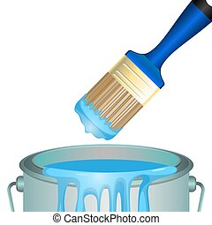 Bucket full of paint and convenient rounded brush