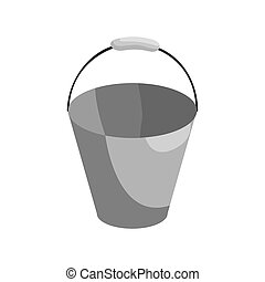 Bucket icon, black monochrome style