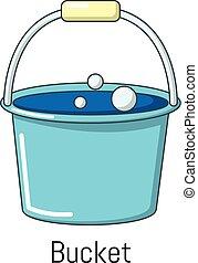 Bucket icon, cartoon style
