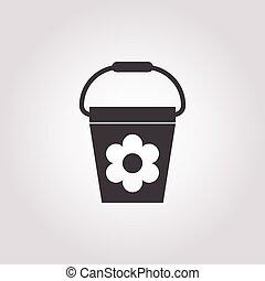 bucket icon on white background