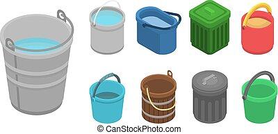 Bucket icon set, isometric style - Bucket icon set....