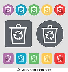bucket icon sign. A set of 12 colored buttons. Flat design. Vector