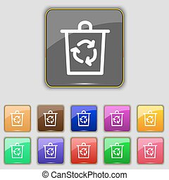 bucket icon sign. Set with eleven colored buttons for your site. Vector