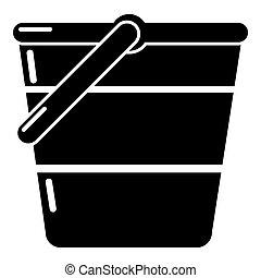 Bucket icon, simple black style