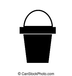 bucket icon, vector illustration, black sign on isolated background