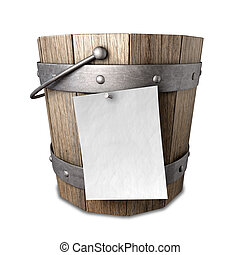 A vintage wooden bucket with metal ring supports and a handle and a blank paper attached to the front with a nail on an isolated background
