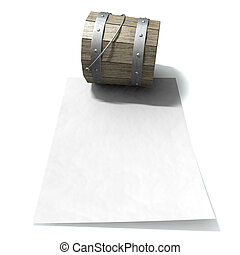 A vintage wooden bucket with metal ring supports and a handle resting on a blank paper on an isolated background