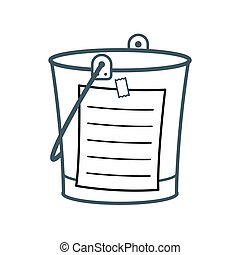 Bucket List cartoon concept with a metal pail and adhering blank list, vector