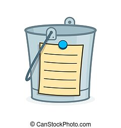 Bucket List cartoon concept with blank page