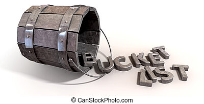 A toppled over metal vintage bucket charm with letter trinkets spilling out spelling the word bucket list on an isolated background
