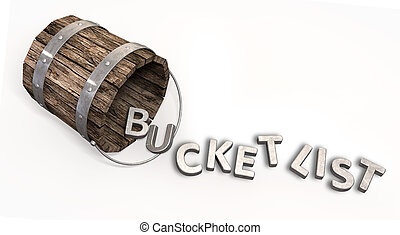 A toppled over vintage bucket with letter trinkets spilling out spelling the word bucket list on an isolated background
