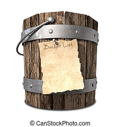 A vintage wooden bucket with metal ring supports and a handle and a aged paper attached to the front that reads bucket list on an isolated background