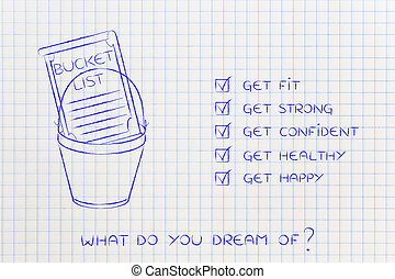 bucket list of fit and healthy lifestyle dreams: get strong and happy (checklist version)