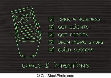 bucket list with entrepreneur's business success goals, ticked off