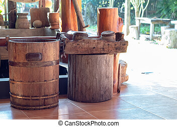 Bucket made of wood and its equipments.