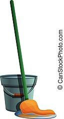 Bucket mop icon, cartoon style