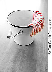 Bucket of Candy Canes for the Holidays