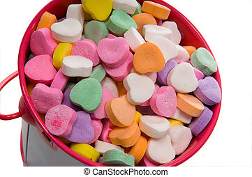 Bucket of Candy Valentine's Hearts - Close-up