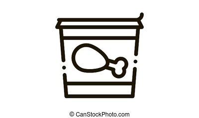 bucket of chicken legs Icon Animation. black bucket of chicken legs animated icon on white background
