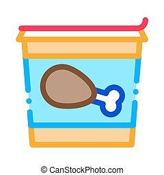 bucket of chicken legs icon vector outline illustration - ...