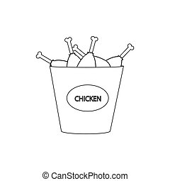 Bucket of chicken legs on the white background. Vector ...