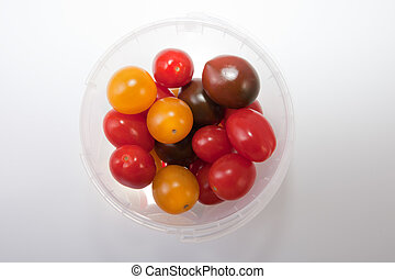 Bucket of colorful cherry tomatoes