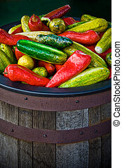 Bucket of Fake Peppers - Large wooden barrel of fake peppers...