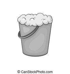 Bucket of foam icon, black monochrome style