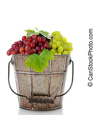 Bucket of Fresh Ripe Grapes