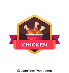 Bucket of fried chicken legs. Fast food label